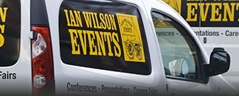Two Ian Wilson Events vans